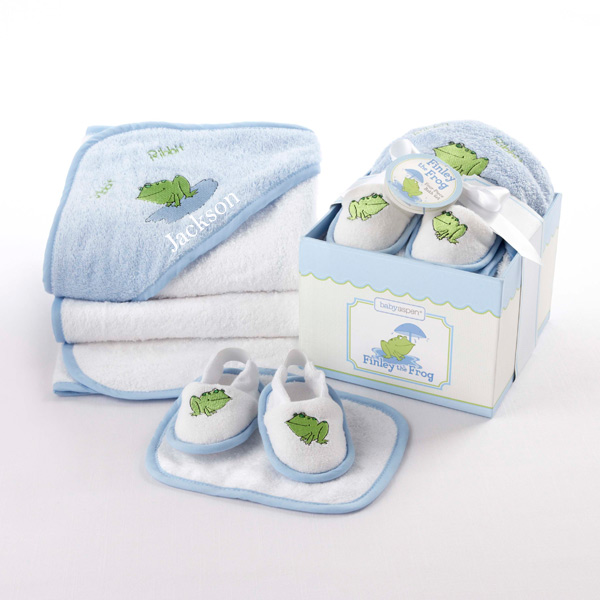 Personalised New Baby Gifts Australia : Personalized baby boy or girl towel bathtime four piece